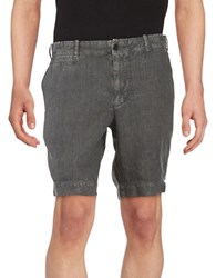 Black Brown Linen Shorts Muted Charcoal