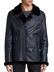 Blk Dnm Fur Trimmed Leather Jacket Slate
