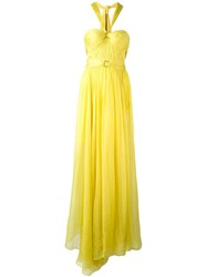 Maria Lucia Hohan Halterneck Flared Gown Yellow Orange