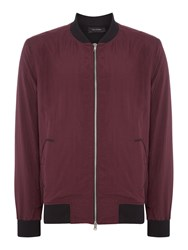 Religion Spaced Zip Through Lightweight Bomber Jacket Burgundy