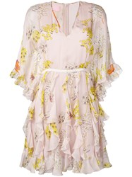 Giamba Floral Print Dress Neutrals