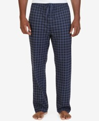 Nautica Men's Blue Gingham Fleece Pajama Pants Blue Plaid