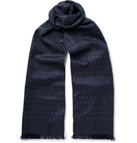 Paul Smith Polka Dot Silk Twill Scarf Navy
