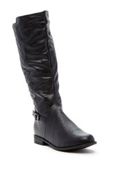 West Blvd Shoes Lahore Faux Leather Quilted Riding Boot Black
