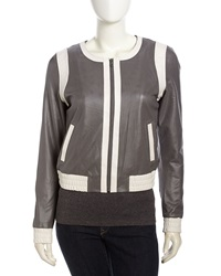 Bagatelle Two Tone Perforated Leather Jacket Gray White