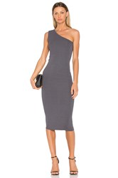 Enza Costa Rib One Shoulder Midi Dress Gray