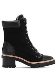 Tory Burch 60Mm Miller Suede And Shearling Boots Black