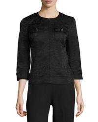 St. John Alligator Stretch Jacquard Jacket Black