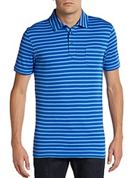 Saks Fifth Avenue Black Slim Fit Striped Ice Cotton Polo Shirt