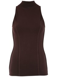Tufi Duek High Neck Top Brown