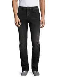 Earnest Sewn Bryant Distressed Mid Rise Jeans Dark Blue
