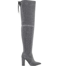 Carvela Grape Glitter Over The Knee Boots Silver
