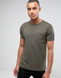 Esprit Slim Fit T Shirt With Pocket And Cuffed Sleeve Khaki 350 Green
