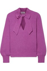 Co Pussy Bow Ribbed Cashmere Sweater Violet