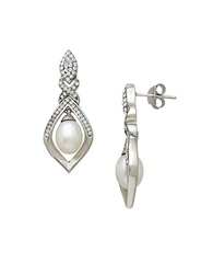 Lord And Taylor Sterling Silver Fresh Water Pearl And Crystal Earrings Pearl Silver