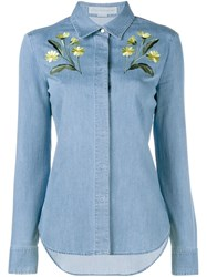Stella Mccartney Floral Embroidered Denim Shirt Blue