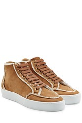 Burberry Shoes And Accessories Suede Sneakers With Shearling Lining Camel