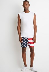 Forever 21 Stars And Stripes Swim Trunks Red Blue