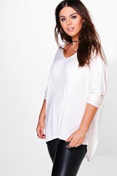 Boohoo Lily Long Sleeve Basic Tee Ivory