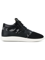 Giuseppe Zanotti Design Runner Camouflage Sneakers Calf Leather Leather Nylon Rubber Black