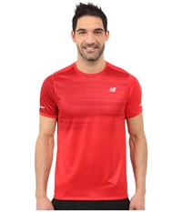 New Balance Nb Ice Short Sleeve Top Chrome Red Bloodstone Impulse Men's Short Sleeve Pullover