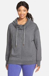 Plus Size Women's Zella 'Free And Easy' Hooded Sweatshirt Charcoal Heather