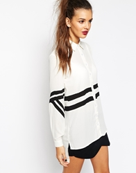 Daisy Street Oversized Shirt With Contrast Stripe White