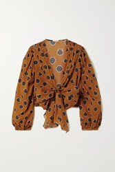 Johanna Ortiz Pioneer Cropped Tie Front Printed Cotton Voile Blouse Orange