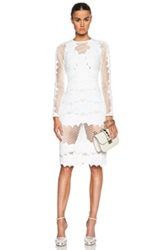 Jonathan Simkhai Burnout Brocade Long Sleeve Dress In White