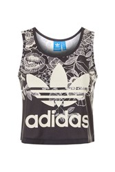 Adidas Floral Cropped Tank Top By Originals Monochrome