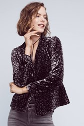 Anthropologie Lumi Velvet Blazer Black Motif