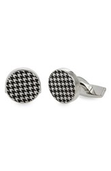 Boss Men's Enamel Houndstooth Cuff Links Black
