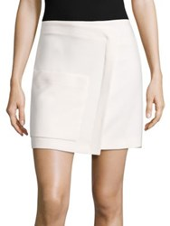 Halston Faux Wrap Mini Skirt Cream