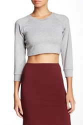 American Apparel 3 4 Sleeve Crop Raglan Sweater Gray