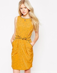 Trollied Dolly Tie Front Dress In Pyramid Polka Print Mustard