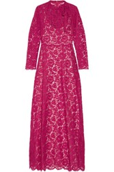 Valentino Pleated Bow Embellished Corded Lace Gown Fuchsia