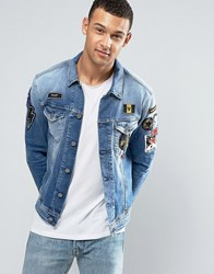 Replay Denim Trucker Jacket With Badges Blue