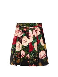 Dolce And Gabbana Pleated Floral Print Velvet Shorts Black Multi