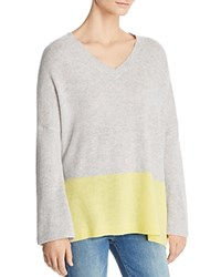 Bloomingdale's C By Color Block Cashmere Sweater 100 Exclusive Cement