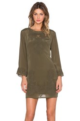 Love Sam Shawl Embroidered Mini Dress Olive