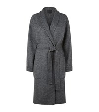 Alexander Wang Herringbone Wool Blend Robe Coat Female Grey