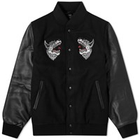 Raised By Wolves Souvenir Redux Varsity Jacket Black