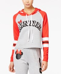 Disney Juniors' Minnie Graphic Hoodie Heather Grey Red