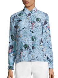 Alice Olivia Willa Silk Printed Shirt Doodle Pop
