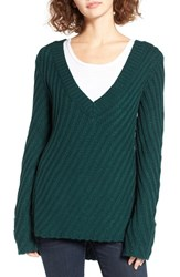 Woven Heart Women's Plunging V Neck Pullover