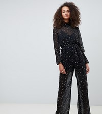 Kiss The Sky High Neck Sheer Jumpsuit In Metallic Star Print Black Star