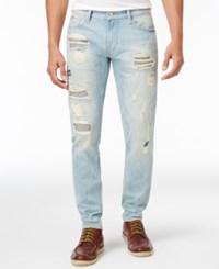 Guess Men's Slim Fit Tapered Ripped Jeans Ebwd Open