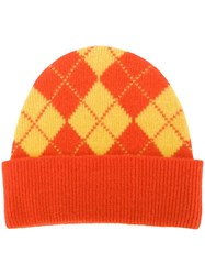 Pringle Of Scotland Argyle Intarsia Beanie Orange