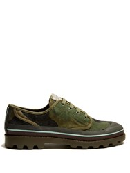 Valentino Camouflage Print Canvas Derby Shoes Green Multi