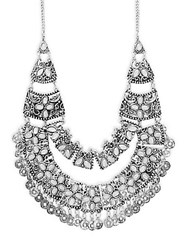 Saks Fifth Avenue Embellished Bib Necklace Silver